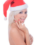 Nude christmas woman in santa hat Stock Photography