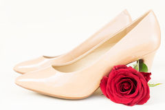 Nude colored high heels still life Royalty Free Stock Photos
