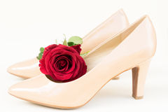 Nude colored high heels still life Royalty Free Stock Image