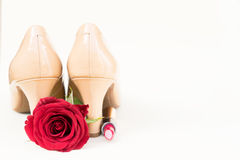 Nude colored high heels still life Royalty Free Stock Images