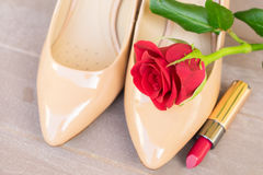 Nude colored high heels still life Stock Photos