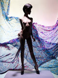 Nude elegant woman surrounded by flowing draperies Royalty Free Stock Photography