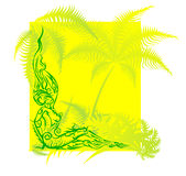 Nude female figure resting in the tropics. Figure out the patterns and ornaments vector illustration