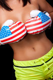 Nude girl in boxing gloves Royalty Free Stock Images