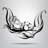 Nude girl lying in the leaves. Vector illustration Stock Photography