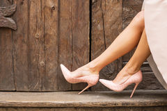 Nude high heel shoes stock images