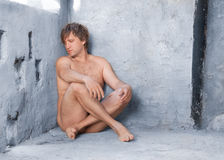 Nude man in concrete Royalty Free Stock Photos