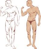 Nude man silhouette Royalty Free Stock Image