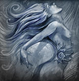 Nude mermaid illustration in blue Stock Photos