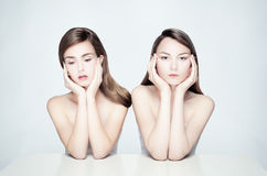Nude portrait of two women. Royalty Free Stock Image
