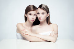 Nude portrait of two women. Stock Photos
