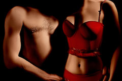 Nude sexy couple Erotic lingerie Stock Photography