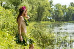 Almost nude sexy girl near lake Royalty Free Stock Photo