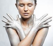 Nude silver girl Stock Image