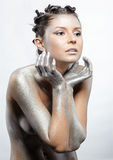 Nude silver girl Royalty Free Stock Images