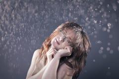 Nude under the snow Stock Photo