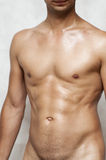 Nude wet muscular man torso Stock Photography