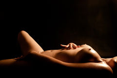 Nude wet torso of a young woman Stock Images