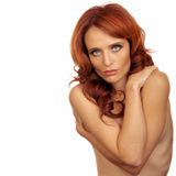 Nude Woman. Beautiful Image of a Nude Glamour Model Isolated Stock Photo