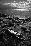 Nude woman on beach. Stock Photo