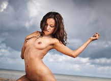 Nude woman on the beach Stock Photography