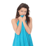 Nude woman covered by blue towel Royalty Free Stock Photography