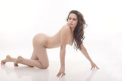 Nude woman crawling on floor Royalty Free Stock Photo