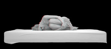 Nude woman curved glitch effect 3d rendering Stock Photography