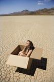 Nude woman in desert. Stock Photo