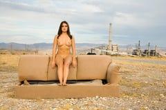 Nude woman in desert Stock Image