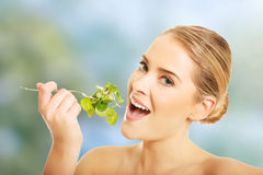 Nude woman eating lettuce Royalty Free Stock Photos