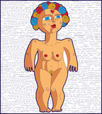 Nude woman graphic vector illustration. Femininity concept hand Royalty Free Stock Photography