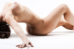 Nude woman with large breasts bending Stock Photo