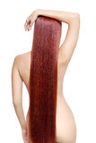 Nude woman with long red hair Royalty Free Stock Photos
