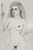 Nude woman that painting Royalty Free Stock Images