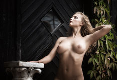 Nude woman posing near the old country house Royalty Free Stock Image