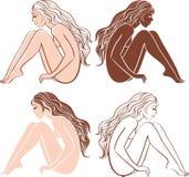 Nude woman silhouette Royalty Free Stock Photos