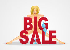 Nude woman standing behind big sale text Stock Image