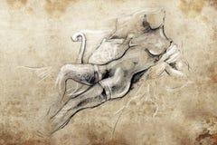 Nude woman, Tattoo sketch, handmade Stock Photography
