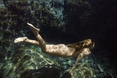 Nude woman underwater. Stock Photography