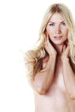 Nude woman on white Royalty Free Stock Images