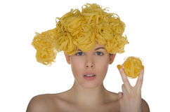 Nude young woman with hairstyle noodle Stock Photo