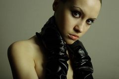 Nudel girl with the gloves Royalty Free Stock Photos
