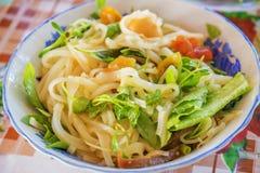 Nudel MI Quang mit Fleisch, Gemüse, Fischen, Huhn und Gewürzen Lizenzfreie Stockfotos