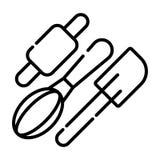 Nudelholz mit wischen Ikone Set Hilfsmittel für das Kochen lizenzfreie abbildung
