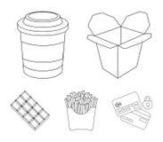 Nudeln, Kaffee, brieten Kartoffeln Vector gesetzte Sammlungsikonen des Schnellimbisses in der Entwurfsart Illustrationsnetz des S Stockfotografie