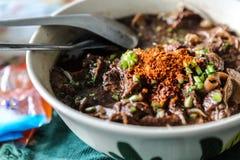 nudeln med blandningen för svinblodsoppa med griskött och grönsaken Arkivfoto