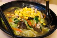 Nudelramen för japansk stil med grönsaker Royaltyfri Fotografi