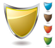 Nudge shield. Collection of shields in different colours with drop shadow Royalty Free Stock Images
