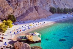 nudist beach in South Crete Greece. Nudist beach called Glyka nera in South Crete called Glyka nera which means sweet or fresh water Royalty Free Stock Photo